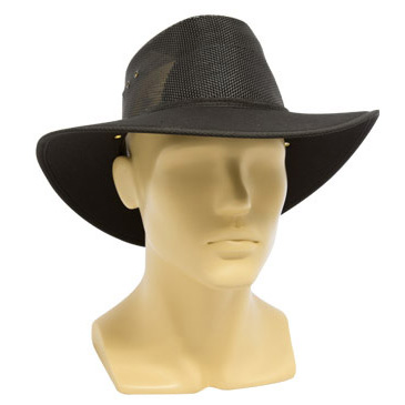 Hat - Nullarbor Breeze Mesh Gussett & Cotton Drill Brim Black 64-65cm - 3XL