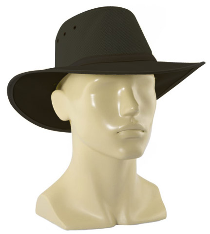 Hat - Canvas Newcastle Hats Canning Breeze c/w Mesh Gusset Black 64-65cm - 3XL