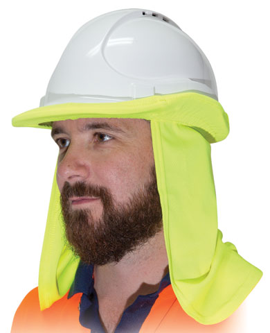 Neck Shade - Uveto Hard Hat Flap Cap/Hat Attachable Micro Mesh 50+ UPF - HI VIS Yellow
