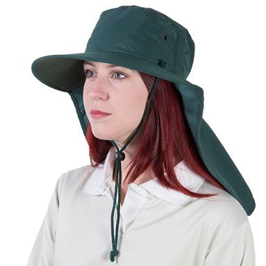 Hat - Uveto Tammin Polyester c/w Neck Flap/Neck Strap & Toggle Forest Green - S/M