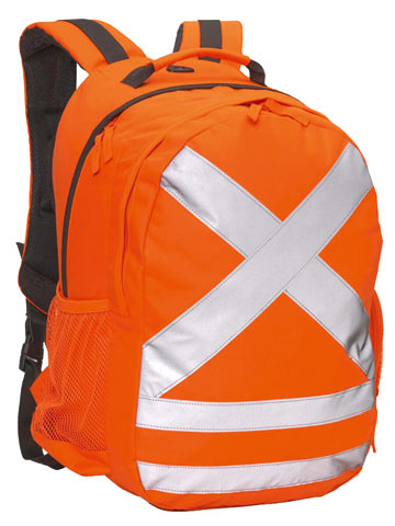 Back Pack -  Polyester/PVC Caribee Calibre HI VIS c/w Tape 26L 42cm x 30cm x 20cm - Orange