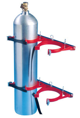 Cylinder Restraint - Galvanised for 2 Bottle 160-230mm - Red