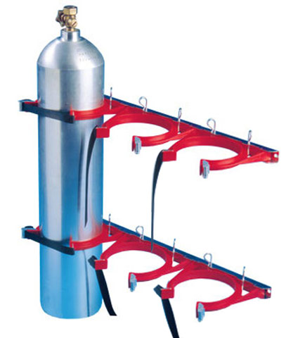 Cylinder Restraint - Galvanised for 3 Bottle 100-145mm - Red