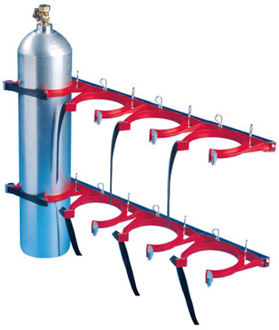 Cylinder Restraint - Galvanised for 4 Bottle 100-145mm - Red