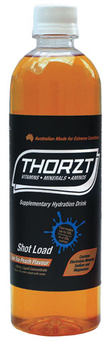 Electrolyte Drink - Thorzt Low GI Shot Load Liquid Concentrate 600ml Bottle (makes 10L) - Iced Tea Peach