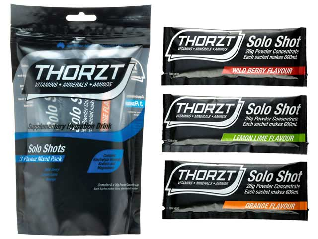 Electrolyte Drink - Thorzt Low GI Solo Shot Sachet Powder 26gm (makes 600ml) - Mix Pack of 6 (2 x Wild Berry/LemonLime/Orange)