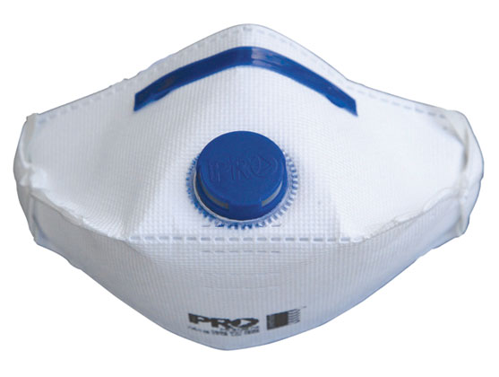 Respirator - Disposable ProChoice P2 Valved Horizontal Flat Fold c/w Aluminium Free Nose Clip