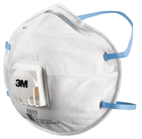 Respirator - Disposable 3M 8822 P2 c/w Valve  Cone