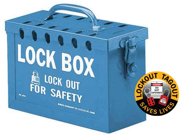 Lockout Lock Box - Portable Brady 45190 Metal Group Lock Box Blue - 13 Hole