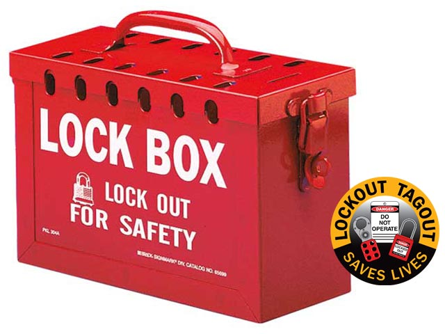 Lockout Lock Box - Portable Brady 65699 Metal Group Lock Box - Red - 13 Hole