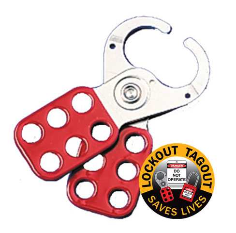 Lockout Hasp - Steel Safety Vinyl Coated Brady 65375/1 c/w 25mm Jaw