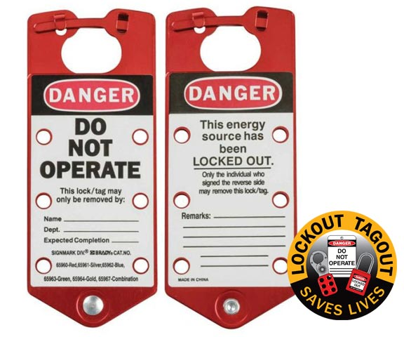 Lockout Hasp - Aluminium Alloy Brady 65960/1 c/w Labelled Tag