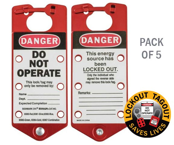 Lockout Hasp - Aluminium Alloy Brady 65960 c/w Labelled Tag