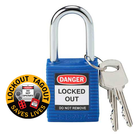 Lockout Padlock Nylon Safety Plus Brady 850816 Steel Shackle - Blue