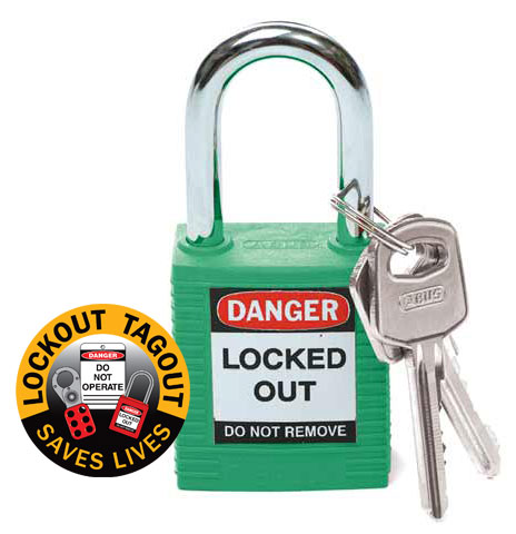 Lockout Padlock Nylon Safety Plus Brady 850818 Steel Shackle - Green