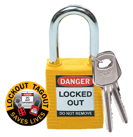 Lockout Padlock Nylon Safety Plus Brady 850820 Steel Shackle - Yellow