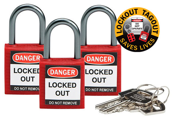 Lockout Padlock - Nylon Safety Plus Brady 853205 Keyed Alike Blister Pack  - Red