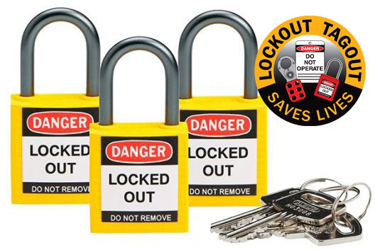 Lockout Padlock - Nylon Safety Plus Brady 853206 Keyed Alike Blister Pack - Yellow