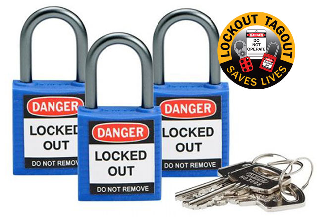 Lockout Padlock - Nylon Safety Plus Brady 853207 Keyed Alike Blister Pack - Blue