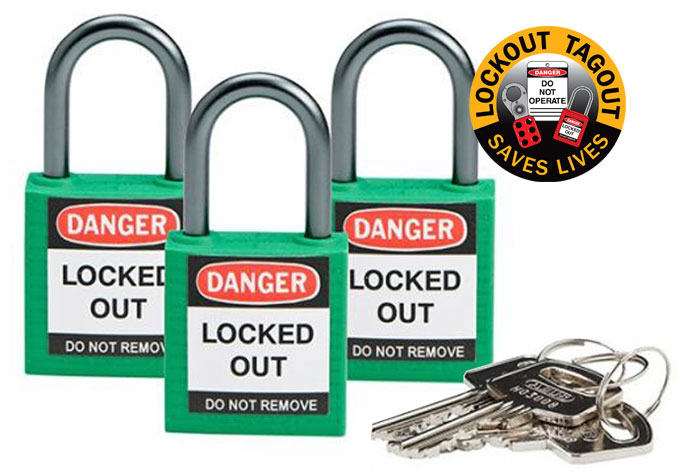 Lockout Padlock - Nylon Safety Plus Brady 853208 Keyed Alike Blister Pack - Green