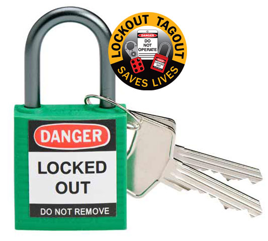 Lockout Padlock - Compact Nylon Brady 872877 c/w Aluminium Shackle - Green