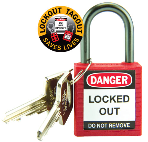 Lockout Padlock - Compact Nylon Brady 872880 c/w Aluminium Shackle - Red