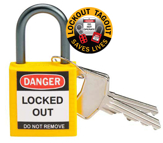 Lockout Padlock - Compact Nylon Brady 872881 c/w Aluminium Shackle - Yellow