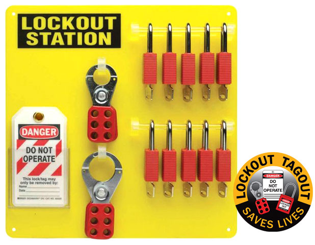 Lockout Cabinet - Steel Padlock Control Centre Brady 851198 Small (Holds 16 Padlocks)