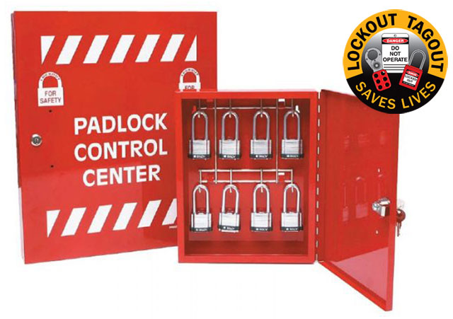 Lockout Cabinet - Steel Padlock Control Centre Brady 851199 Large (Holds 32 Padlocks)