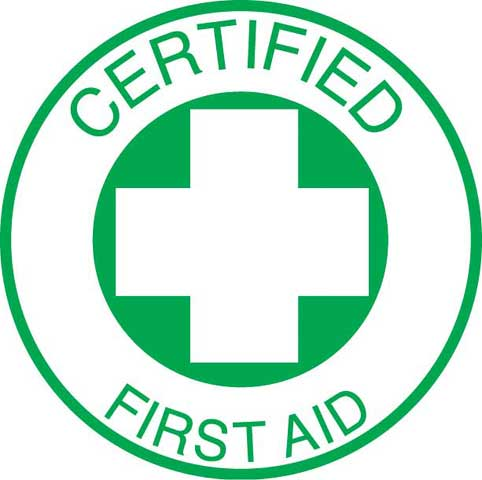 Decal - Vinyl SS Helmet Emblem 51mm - 'Certified First Aid'