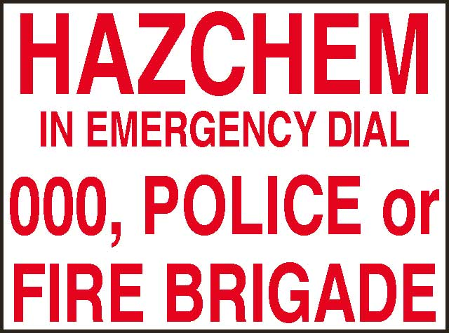 Sign - Metal Hazchem 'In Emergency Dial 000