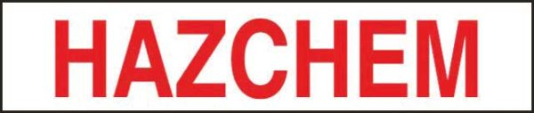 Sign - Metal 'Hazchem' Red/White 600mm x 125mm
