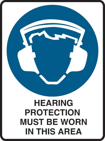 Sign - Metal Mandatory 'Hearing Protection Must Be Worn In This Area' 600mm x 450mm
