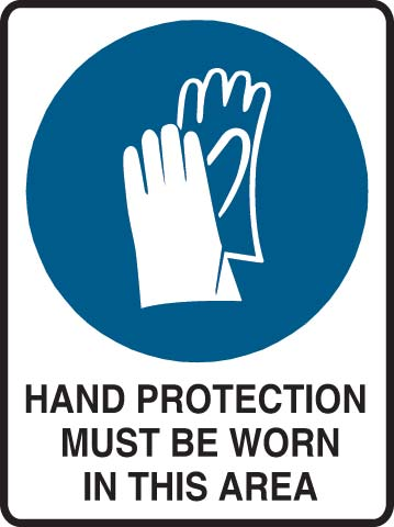 Sign - Metal Mandatroy 'Hand Protection Must Be Worn In This Area' 600mm x 450mm