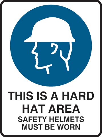 Sign - Metal Mandatory 'This Is A Hard Hat Area Safety Helmets Must Be Worn' 600mm x 450mm