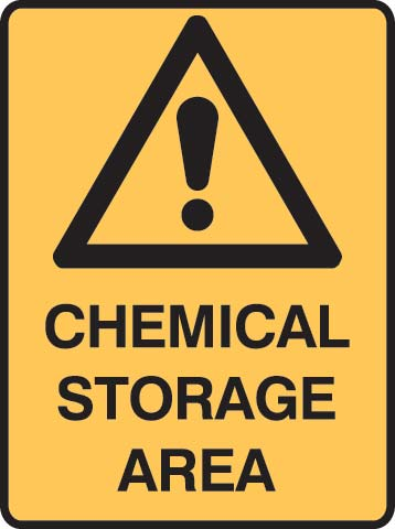 Sign - Metal Warning 'Chemical Storage Area' 600mm x 450mm