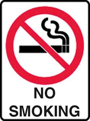 Sign - Metal Prohibition 'No Smoking' 450 x 600