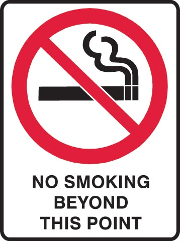 Sign - Metal Warning 'No Smoking Beyond This Point' 450 x 600