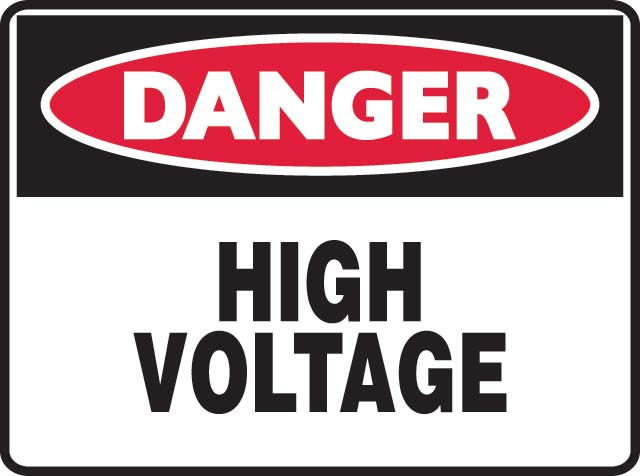 Sign - Metal Danger 'High Voltage' 600 x 450