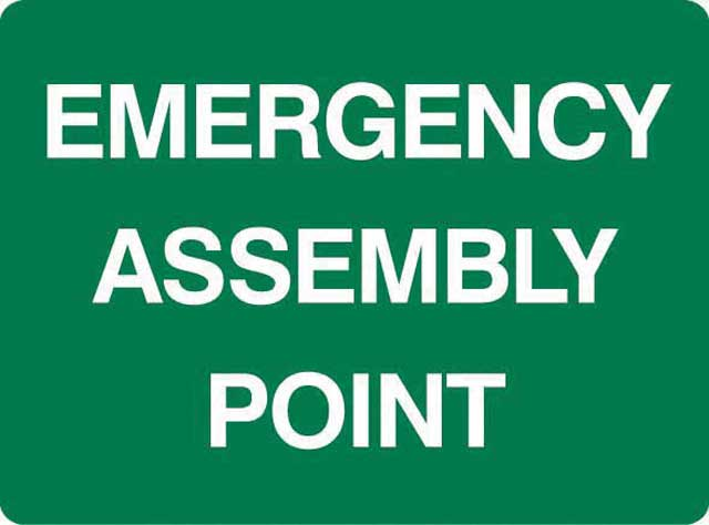 Sign - Metal 'Emergency Assembly Point' 600mm x 450mm
