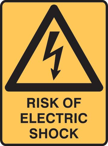 Sign - Metal Warning 'Risk Of Electric Shock' 450 x 600