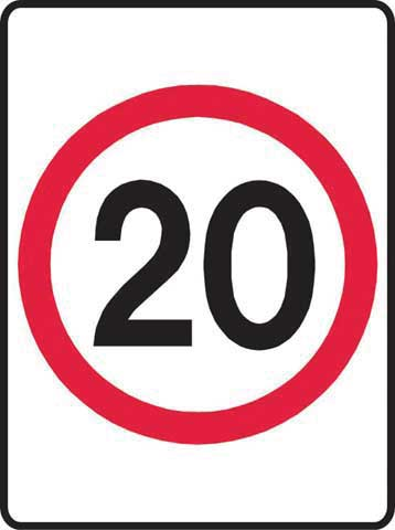 Sign - Metal '20KM' Speed Sign 450 x 600