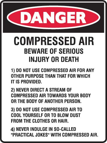 Sign - Metal Danger 'Compressed Air' Message 450mm x 600mm