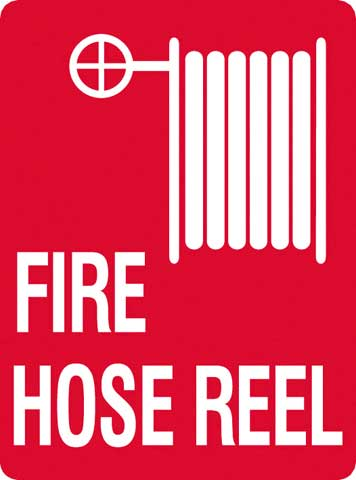 Sign - Metal Fire Safety 'Fire Hose Reel' with Reel 450mm x 600mm