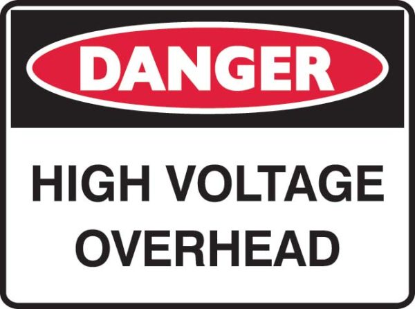 Sign - Metal Danger 'High Voltage Overhead' 600mm x 450mm