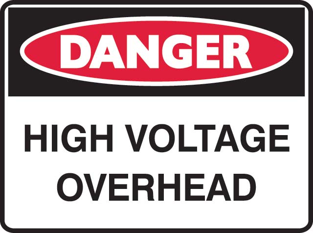Sign - Metal Danger 'High Voltage Overhead' 600 x 450