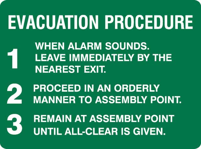 Sign - Metal 'Evacuation Procedure' Message 450 x 300