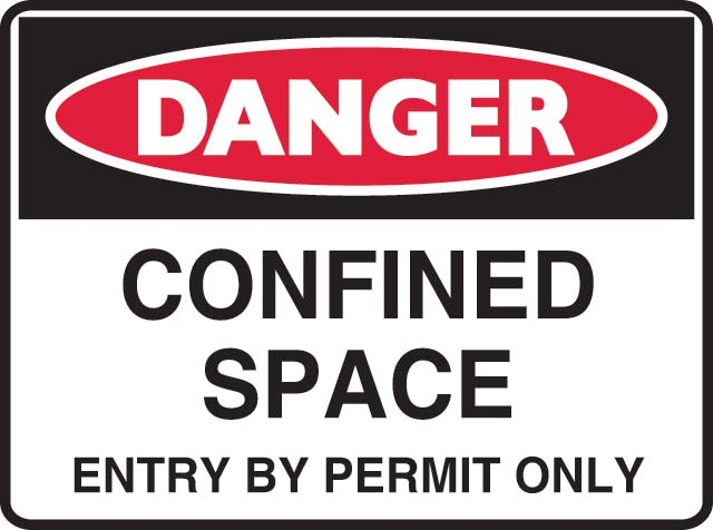 Sign - Metal Warning 'Confined Space Entry By Permit Only' 450 x 600
