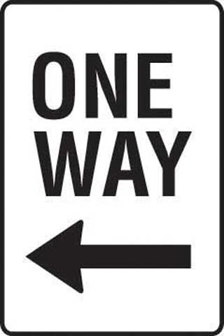 Sign - Metal 'One Way' Left Arrow 450 x 600