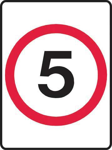 Sign - Metal '5KM' Speed Sign 450 x 600